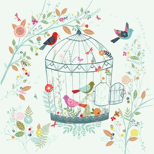 Floral Birdcage by Bethan Janine Paper Print