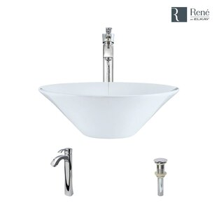 Bargain Vitreous China Circular Vessel Bathroom Sink with Faucet and Overflow By René By Elkay