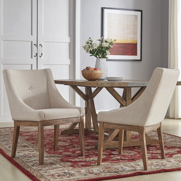 Irving Place Linen Upholstery Dining Chair (Set of 2) by Three Posts