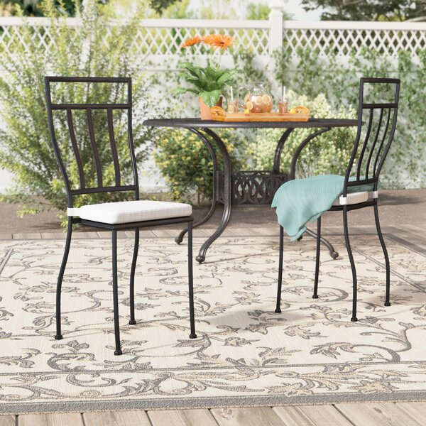 Randle Stacking Patio Dining Chair with Cushion (Set of 2) by Alcott Hill