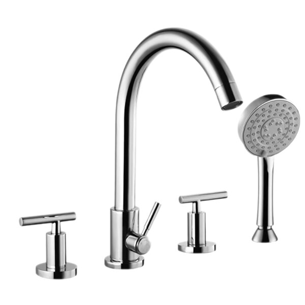 Double Handle Deck Mounted Roman Tub Faucet with Diverter and Handshower by Valley Acrylic Ltd. Valley Acrylic Ltd.