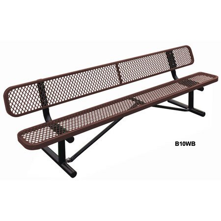 Standard Expanded In Ground Metal Park Bench by Leisure Craft
