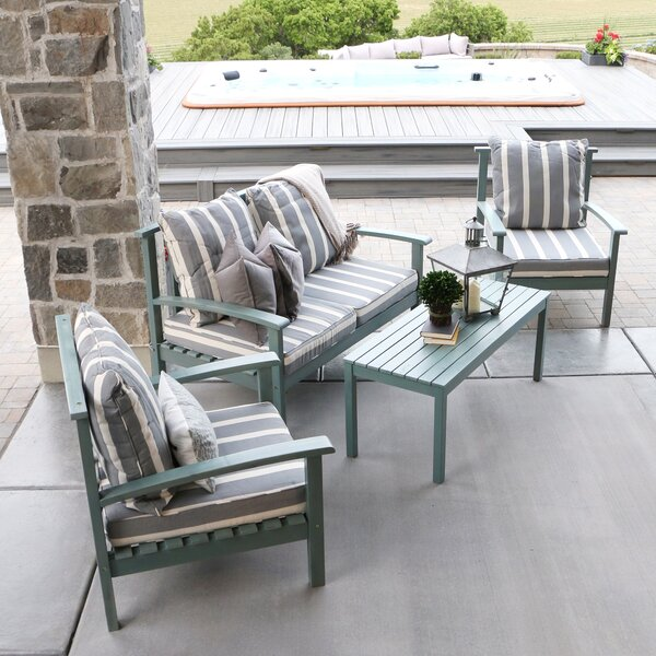 4 Piece Acacia Wood Patio Set with Cushion by angelo:HOME