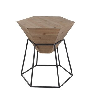 Riccardo Large Wood Iron End Table by Ivy Bronx