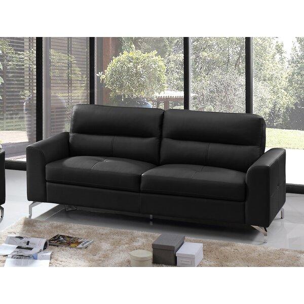 Tristan Leather Sofa by Orren Ellis Orren Ellis
