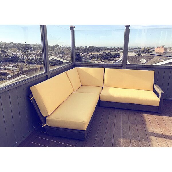 Hagar 3 Piece Teak Sunbrella Sectional Set with Cushions by Brayden Studio