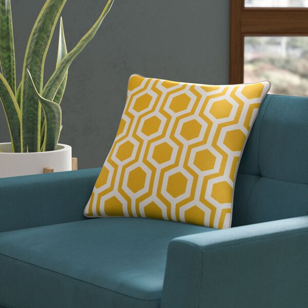 Antonia Geometric Square Woven Cotton Throw Pillow Cover by Langley Street