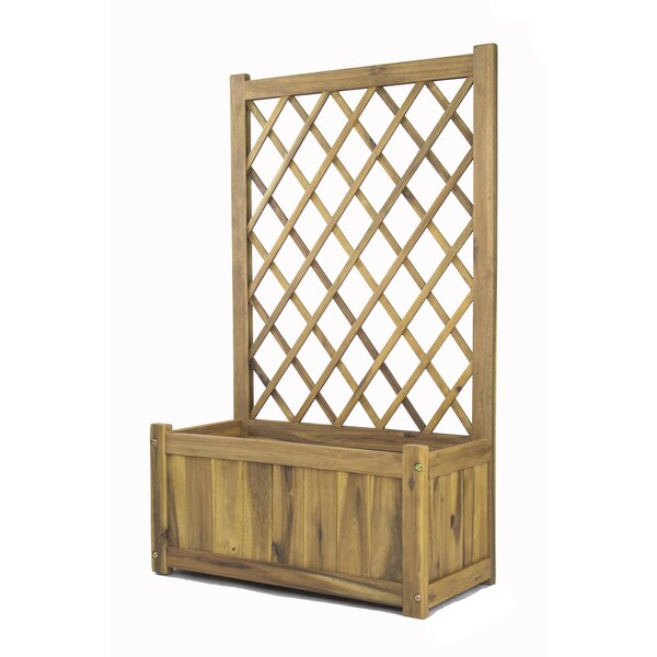 Wisteria Wood Planter Box with Lattice Panel Trellis by Heather Ann Creations