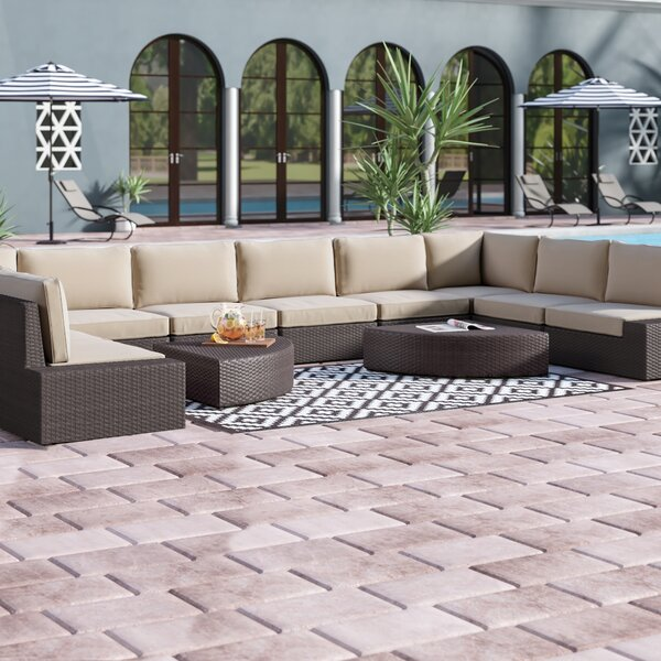 Mountview 12 Piece Rattan Sectional Seating Group with Cushions by Wade Logan
