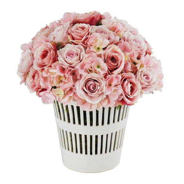 French Rose Bouquet in Vermeil Cachepot by Jane Seymour Botanicals