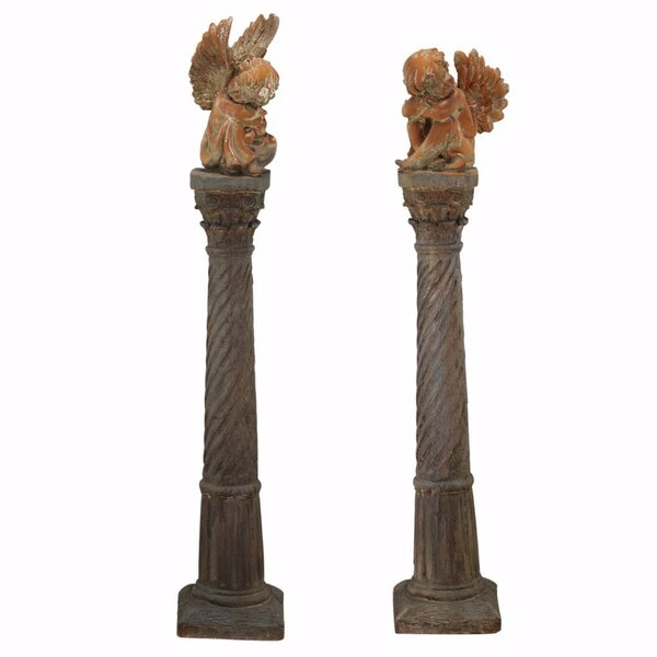 Erich Magnesia Cherubs 2 Piece Sculpture set on Pedestal by Astoria Grand