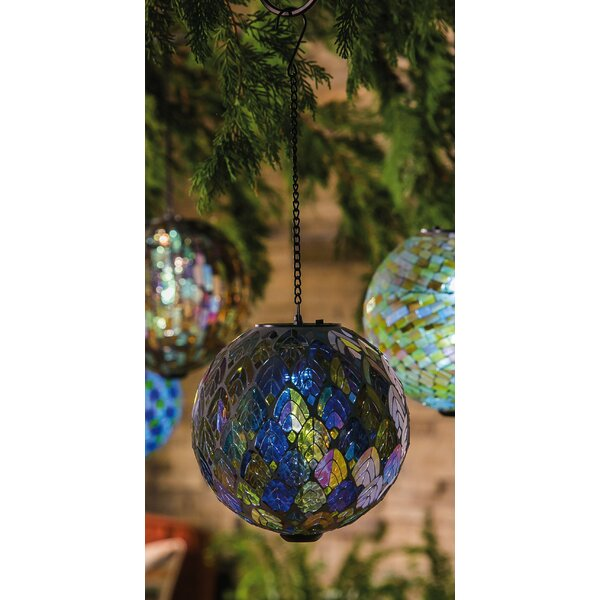 Feathered Mosaic Hanging Solar Gazing Ball by Evergreen Enterprises, Inc