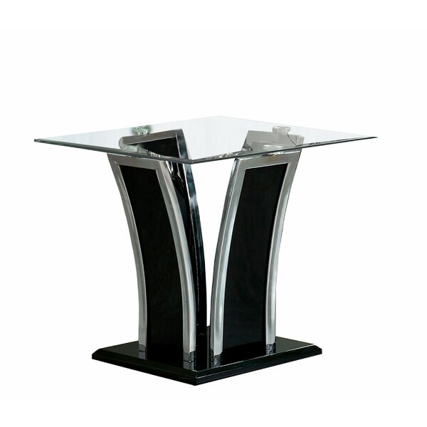 Isanti Glass Top Pedestal End Table By Everly Quinn