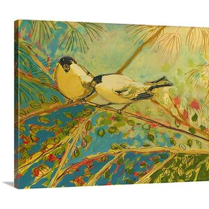'Two goldfinch found' by Jennifer Lommers Painting Print on Canvas by Great Big Canvas