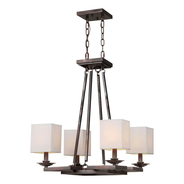 Schuster 4-Light Shaded Wagon Wheel Chandelier By Fleur De Lis Living