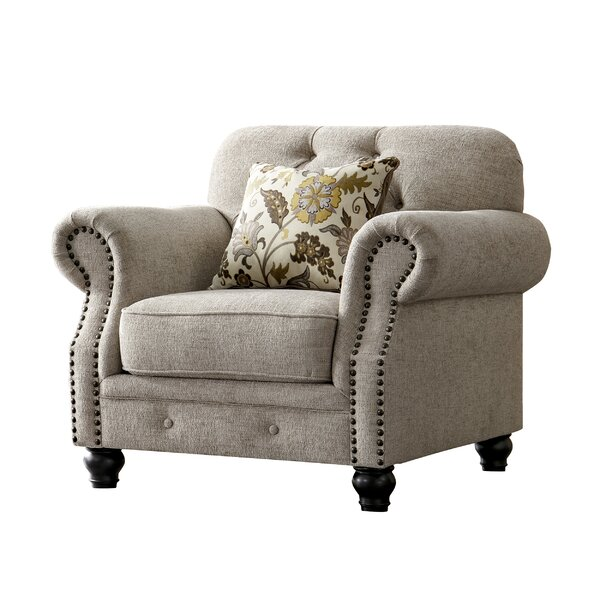Lathan Chesterfield Chenille Armchair by Charlton Home