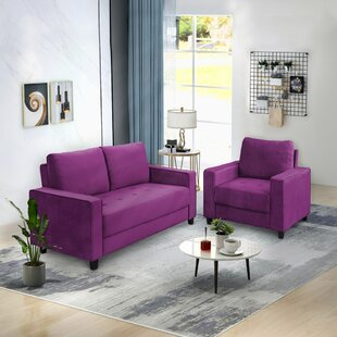 Folami 2 Piece Velvet Living Room Set by Ebern Designs