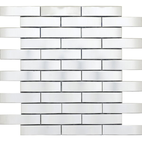 Gleam 11 x 12 Metal over Ceramic Wave Mosaic Tile in Silver by Emser Tile