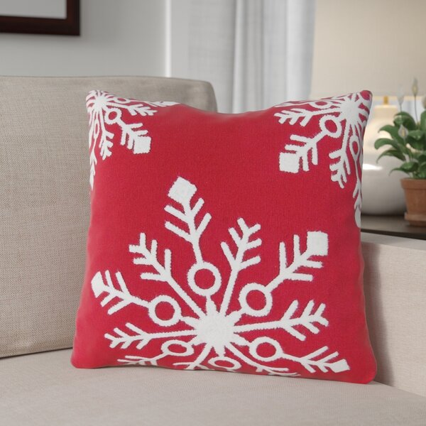 Snowflakes Rice Stitch Throw Pillow by The Holiday Aisle