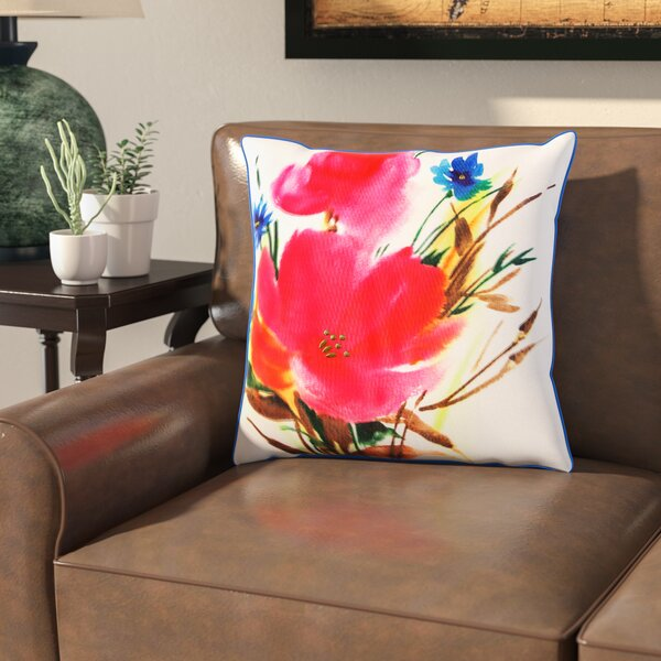 Uri Botanical Mix Watercolor Floral Indoor/Outdoor Throw Pillow by Bloomsbury Market