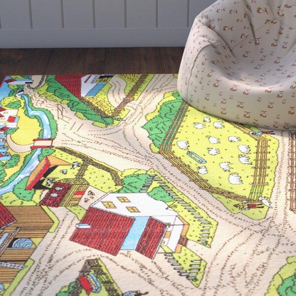 Teddy Bright Green/Beige Area Rug by Zoomie Kids