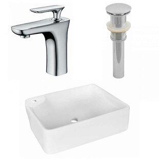 Top Reviews Ceramic Rectangular Vessel Bathroom Sink with Faucet ByAmerican Imaginations