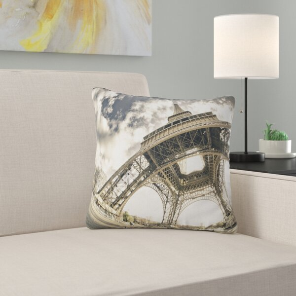 Paris Eiffel Tower in Sunny Winter Morning Pillow by East Urban Home