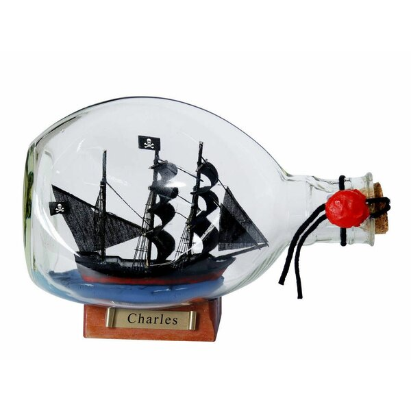 Munroe Charles Pirate Ship Glass Bottle by Breakwater Bay
