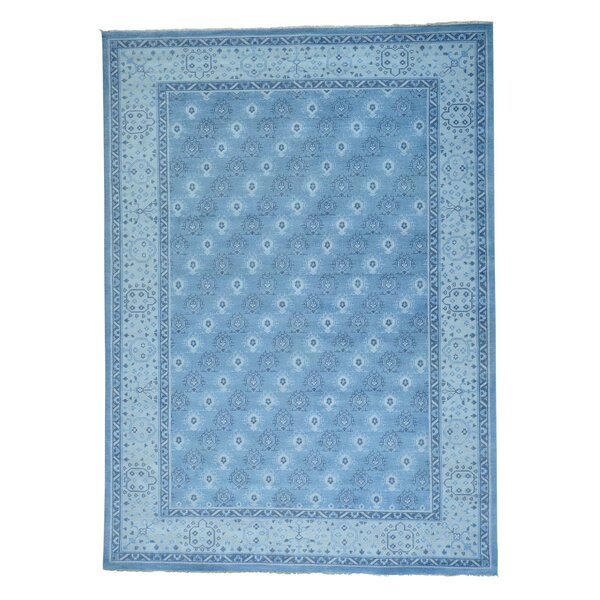 One-of-a-Kind Dilbeck Turkish Knot Cropped Thin Oriental Hand-Knotted Blue Area Rug by World Menagerie