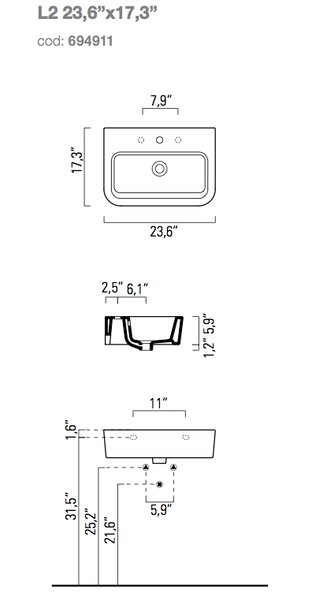 Traccia Curved Ceramic Rectangular Vessel Bathroom Sink with Overflow by GSI Collection
