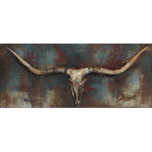'Long Horn' Painting Print on Metal by Union Rustic