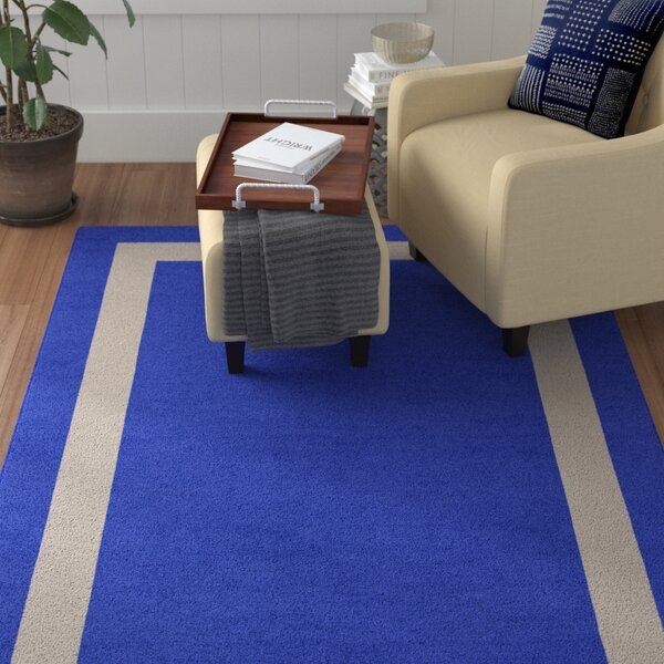 Spicer Border Hand-Tufted Wool Blue/Silver Area Rug by Red Barrel Studio