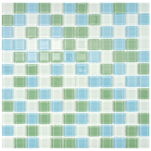 Continuum 0.88 x 0.88 Glass Mosaic Tile in Light Blue/Green by EliteTile