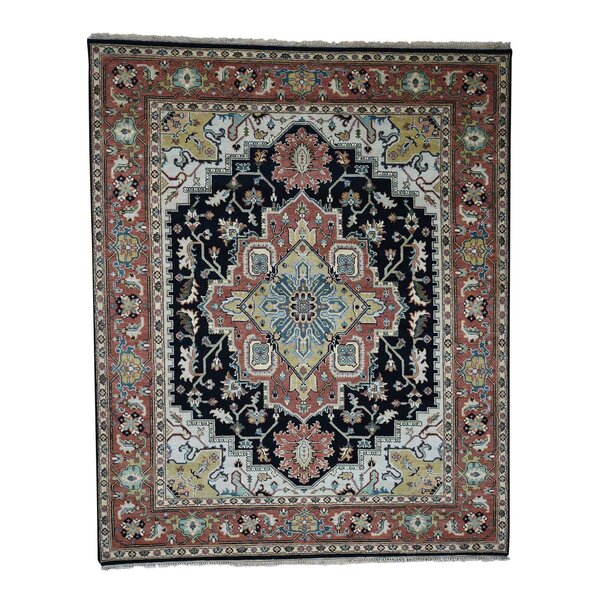 One-of-a-Kind Newcastle Serapi Tribal Oriental Hand-Knotted Black Area Rug by Astoria Grand