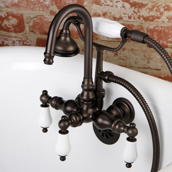Vintage Triple Handle Wall Mounted Clawfoot Tub Faucet With Diverter And Handshower By Kingston Brass