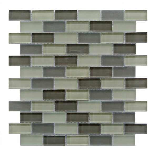 Free Flow 1 x 2 Glass Mosaic Tile in Green/Beige by Abolos