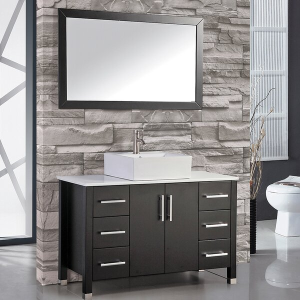 Laroche 47 Single Bathroom Vanity Set with Mirror by Latitude Run