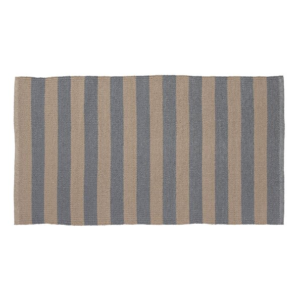 Awning Stripe Hand-Woven Beige/Gray Indoor/Outdoor Area Rug by Home Furnishings by Larry Traverso