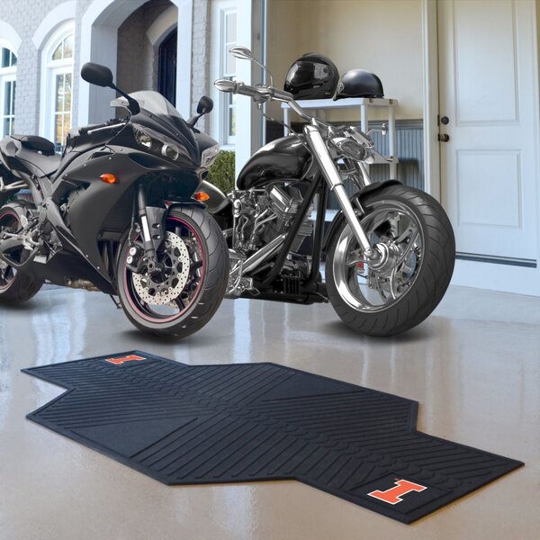 NCAA University of Illinois Motorcycle Garage Flooring Roll in Black by FANMATS