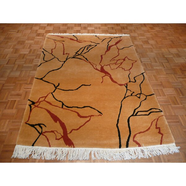 One-of-a-Kind Padang Sidempuan Marble Tufenkian Hand-Knotted Tan Area Rug by Bloomsbury Market