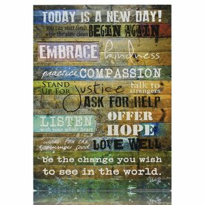 'Today Is a New Day' Textual Art on Canvas by Marla Rae