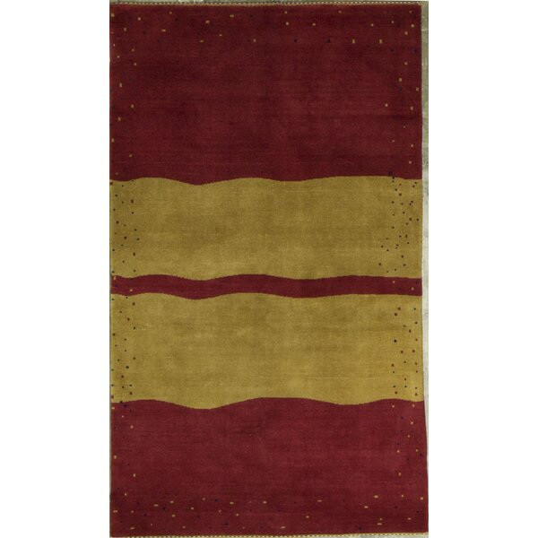 Gabbeh Hand-Knotted Wool Red/Yellow Area Rug by Bokara Rug Co., Inc.