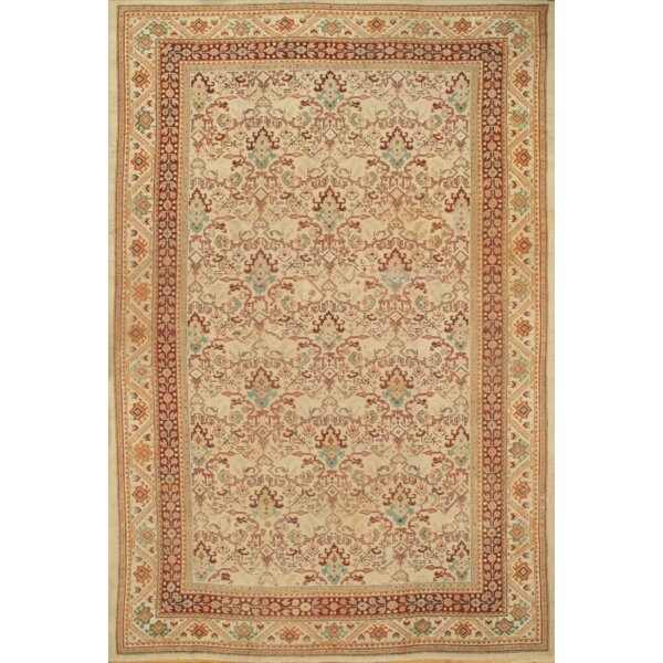 Antique Sultanabad Hand-Knotted Wool Ivory Area Rug by Pasargad NY
