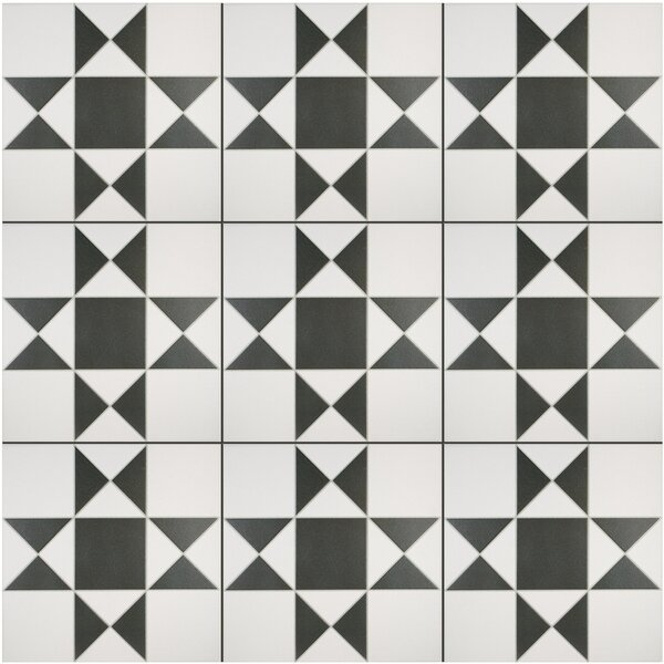 Narcisso Blanco 13 x 13 Porcelain Field Tile in Black/White by EliteTile