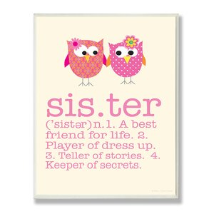 'Owl Sister' Textual Art Wall Plaque by Harriet Bee