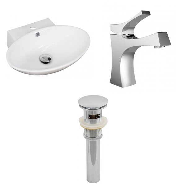 Ceramic Oval Vessel Bathroom Sink with Faucet and Overflow by American Imaginations