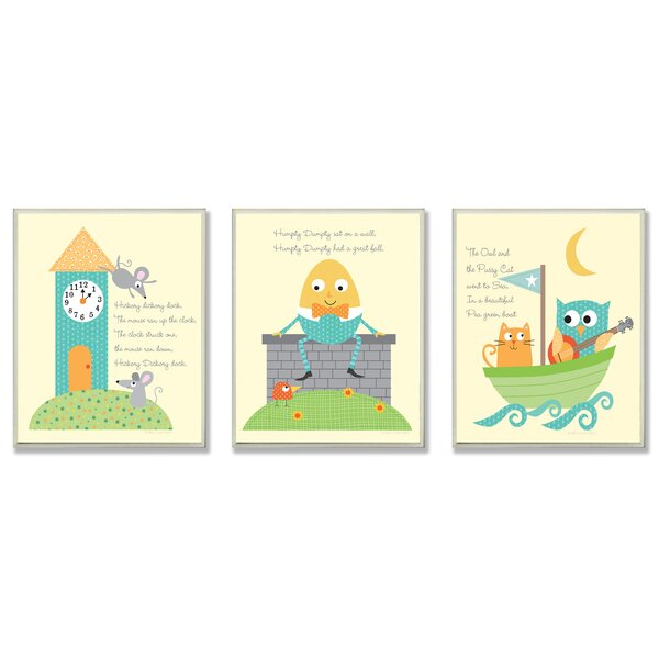 The Kids Room Nursery Rhyme Classics Triptych 3 Piece Wall Plaque Set by Stupell Industries