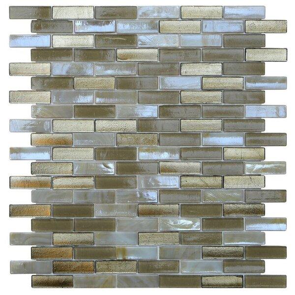 Opal 0.63 x 1.88 Glass Mosaic Tile in Metallic Sand by Kellani
