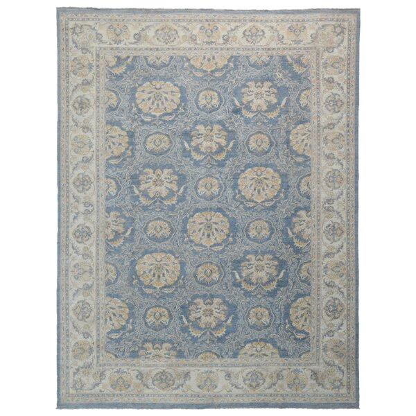 One-of-a-Kind Baron Oriental Hand-Knotted Blue/Beige Area Rug by Isabelline