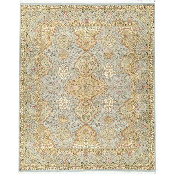 One-of-a-Kind Hand-Knotted Light Blue 8' x 10' Wool Area Rug
